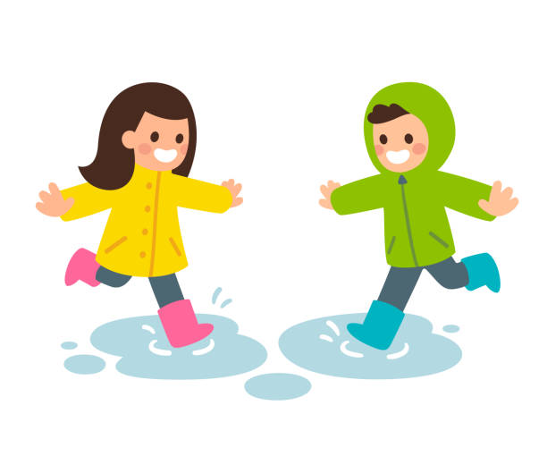 Best Playing In The Rain Illustrations, Royalty-Free ...