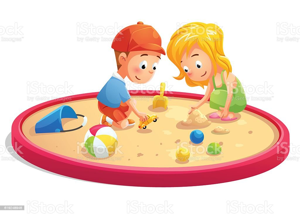 Kids Playing In Sandbox Cartoon Style Stock Vector Art More Images