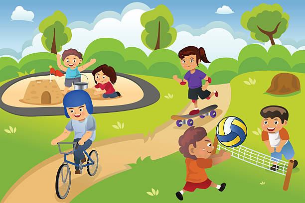 Kids Playing in the Playground vector art illustration