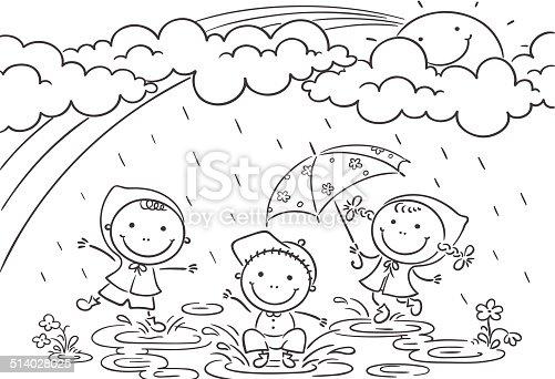 kids playing in the rain stock vector art 514028025