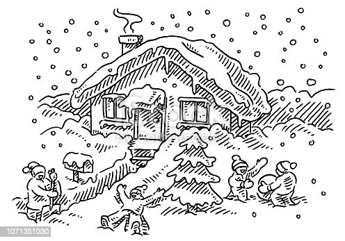 Hand-drawn vector drawing of Kids Playing In The Snow at a Frontyard of a House. Black-and-White sketch on a transparent background (.eps-file). Included files are EPS (v10) and Hi-Res JPG.