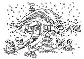 Kids Playing In The Snow Frontyard House Drawing