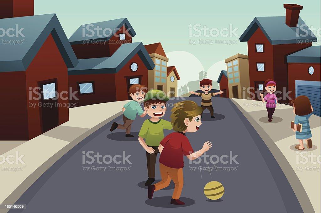 Ilustracion De Ninos Jugando En La Calle De Un Vecindario