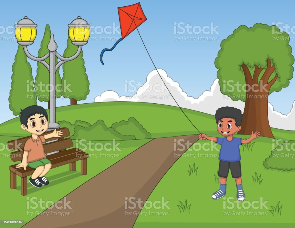 Kids playing kites at the park