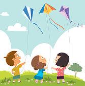 Vector Kids Playing Kites