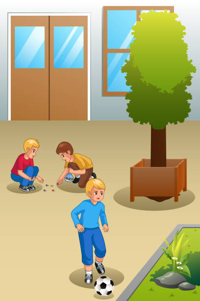 Kids Playing Marbles and Soccer Outdoors Illustration vector art illustration