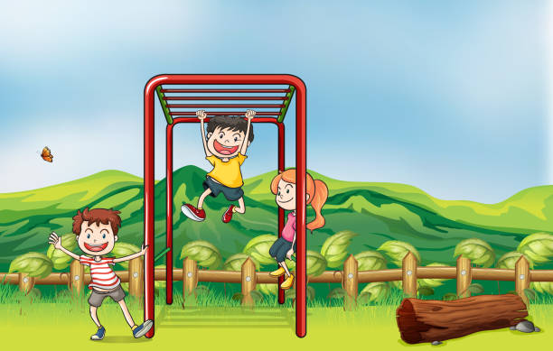 kids playing monkey bar and a dry wood - monkey bars stock illustrations, clip art, cartoons, & icons