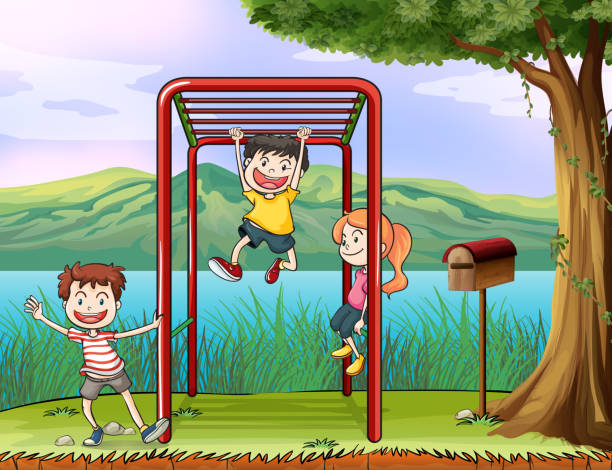 kids playing monkey bar and a letter box - monkey bars stock illustrations, clip art, cartoons, & icons