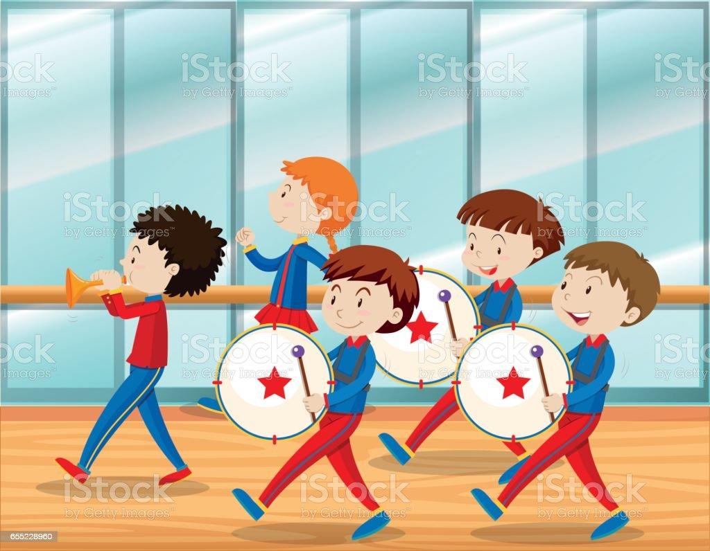 Kinder Musizieren in Schulband – Vektorgrafik