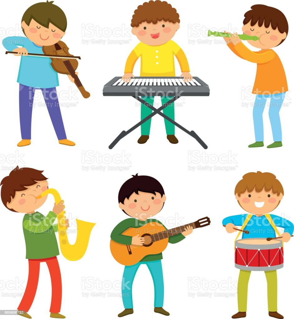 kids playing music vector art illustration