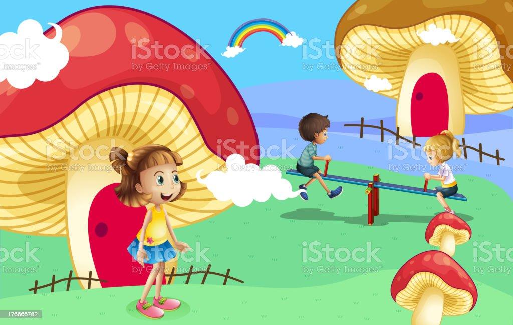 Kids playing near the giant mushroom houses royalty-free kids playing near the giant mushroom houses stock vector art & more images of illustration