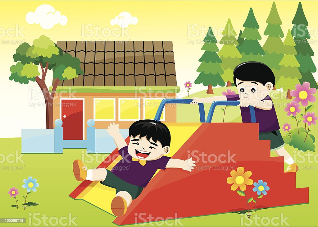 Kids playing on a flower garden at school Kids playing on a flower garden at school with pine trees in a backyard Child stock vector