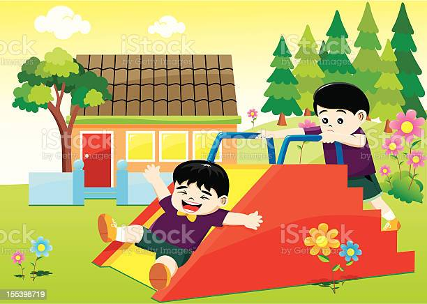 Kids Playing On A Flower Garden At School Stock Illustration - Download Image Now