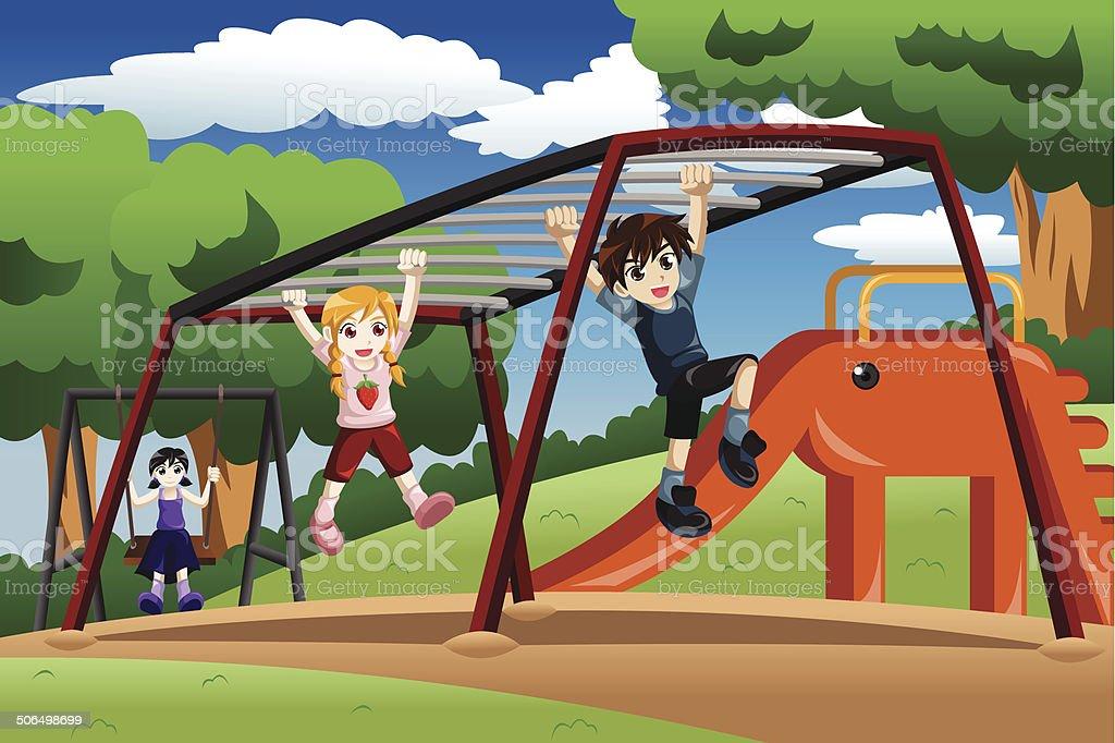 Klettergerüst Clipart : Kinder spielen auf einem fels monkey bar dem spielplatz stock
