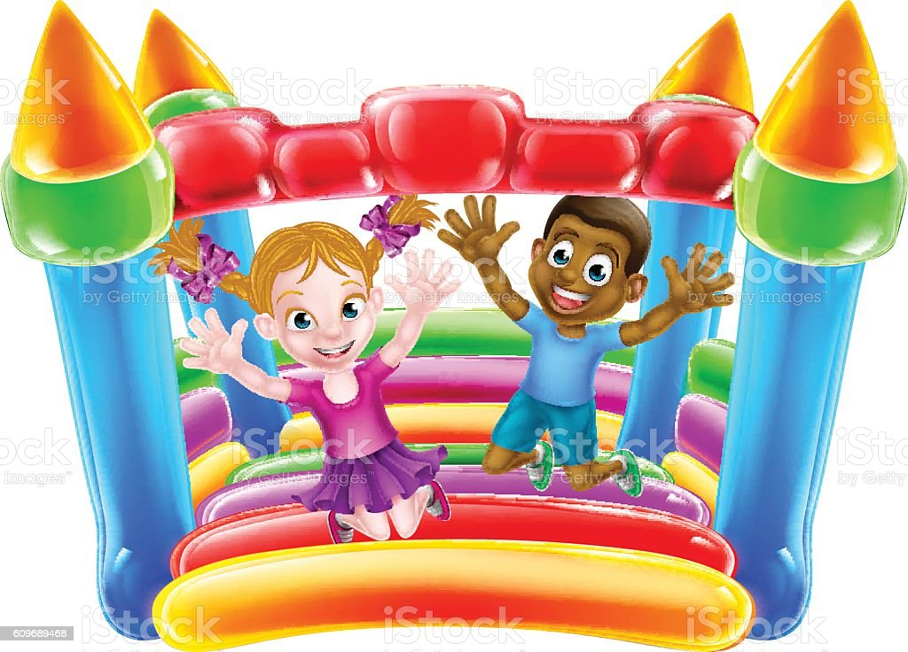 Kids Playing on Bouncy Castle vector art illustration