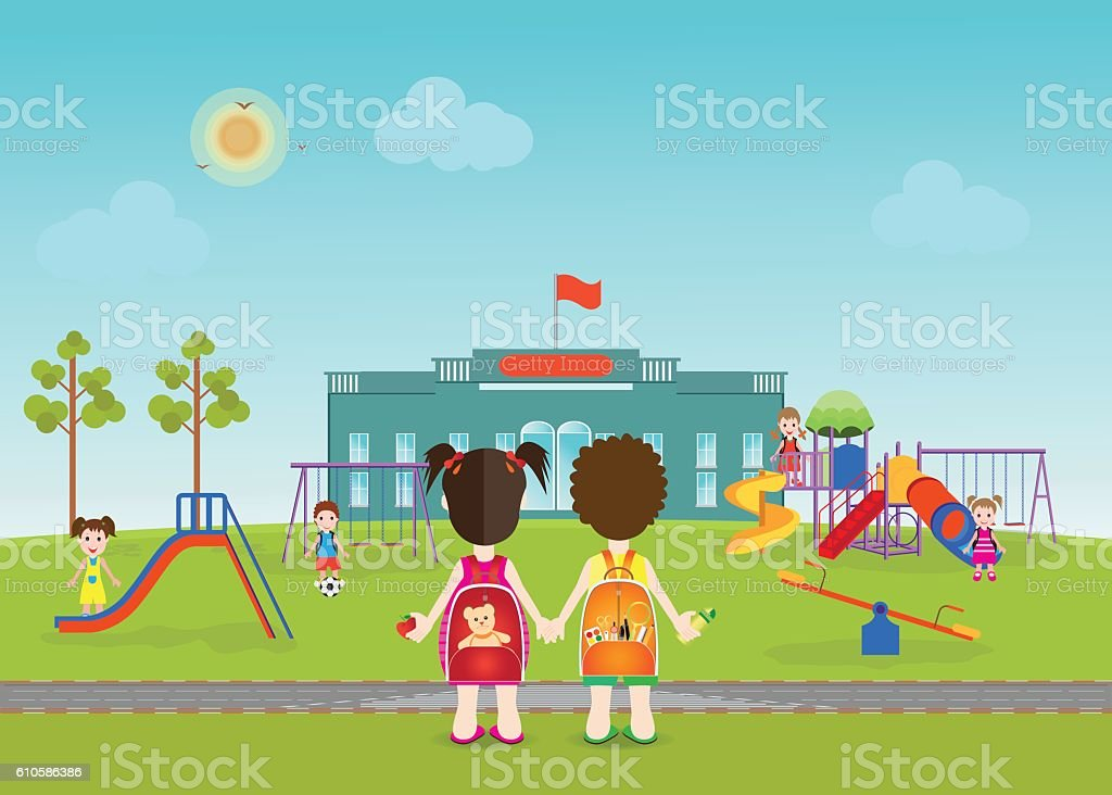 Kids playing on playground  with equipment. vector art illustration