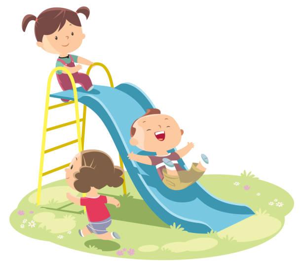 ilustrações, clipart, desenhos animados e ícones de crianças brincando no slide - deslize