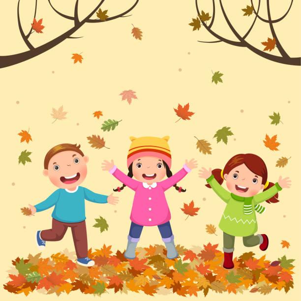 bildbanksillustrationer, clip art samt tecknat material och ikoner med barn som leker utomhus i höst - children autumn