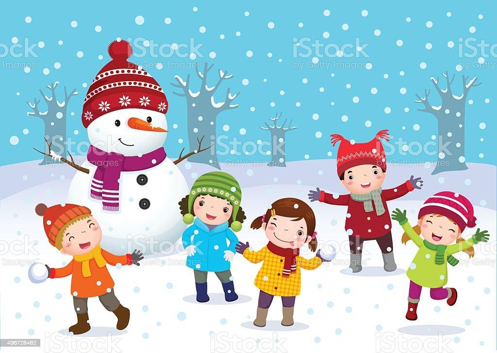 Crianças brincando ao ar livre, no inverno - ilustração de arte em vetor