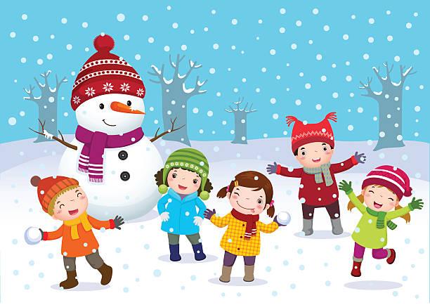 kinder spielen im freien im winter - kinderstiefel stock-grafiken, -clipart, -cartoons und -symbole
