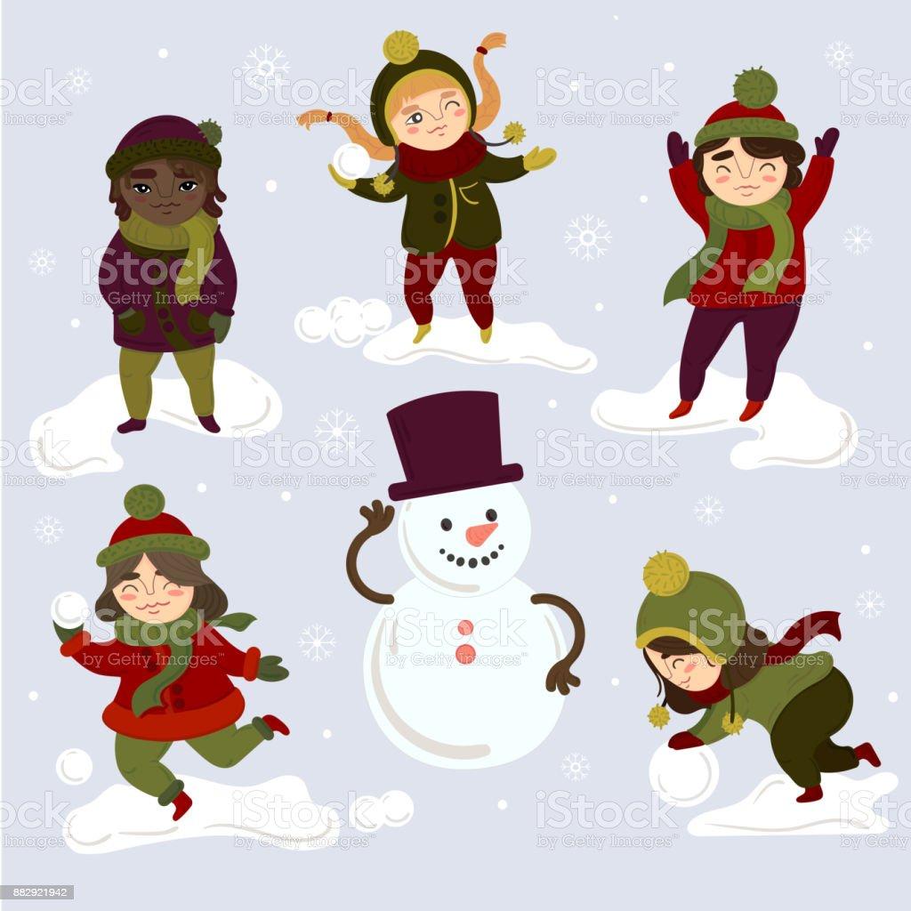 Ilustracion De Ninos Jugando Al Aire Libre Con Bolas De Nieve Y