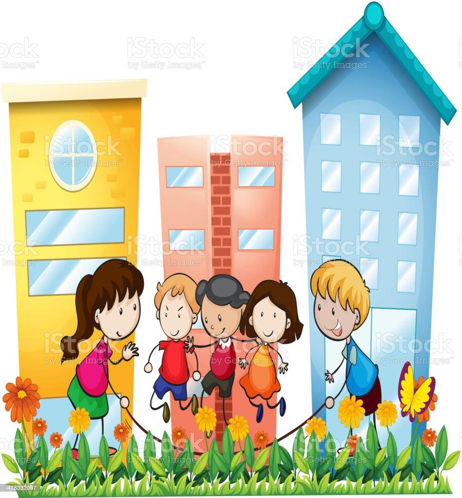 子供外遊びの建物 イラストレーションのベクターアート素材や画像を