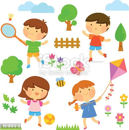 Kids Playing Outside Stock Vector Art & More Images of ...