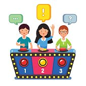 Kids playing quiz game answering questions