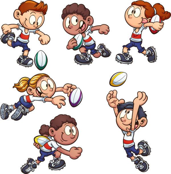 kinder spielen rugby - rugby stock-grafiken, -clipart, -cartoons und -symbole