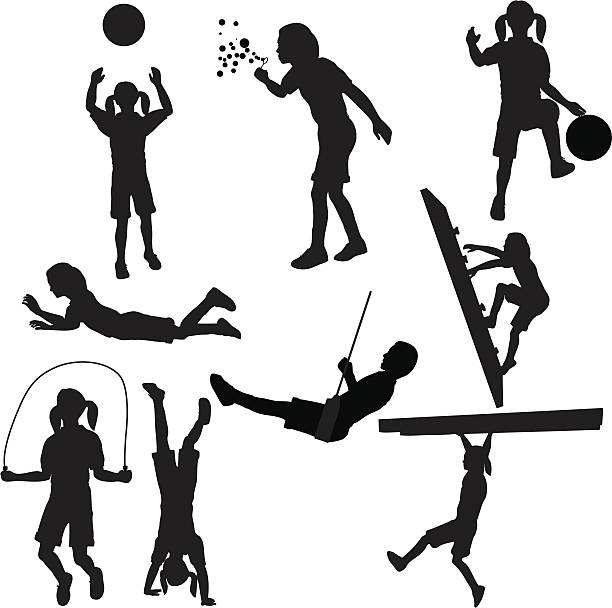 kids playing silhouette collection (vector+jpg) - monkey bars stock illustrations, clip art, cartoons, & icons