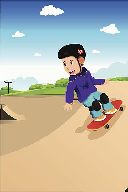 bildbanksillustrationer, clip art samt tecknat material och ikoner med kids playing skateboard - skatepark
