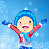 Little girl playing snowflakes on winter.