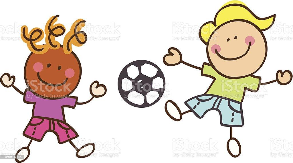 Kinder Spielen Fussball Cartoon Illustration Stock Vektor Art