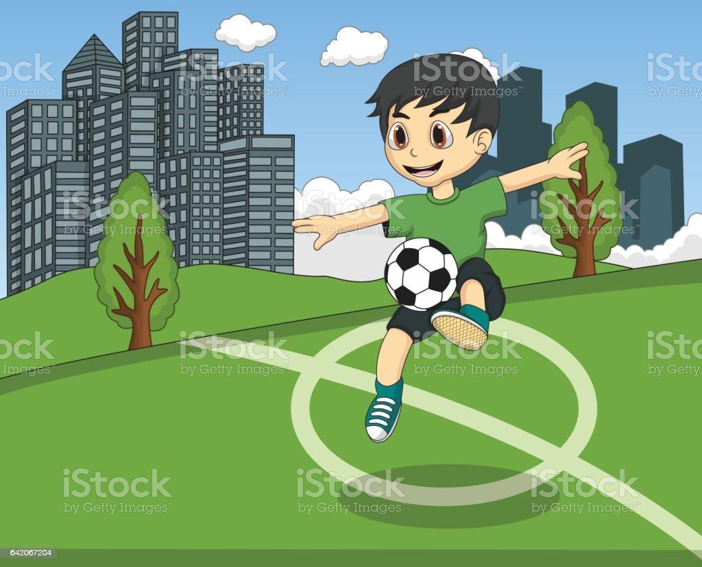 Crianças Que Jogam O Futebol Nos Desenhos Animados Do: Ilustração De Crianças Jogando Futebol No Desenho