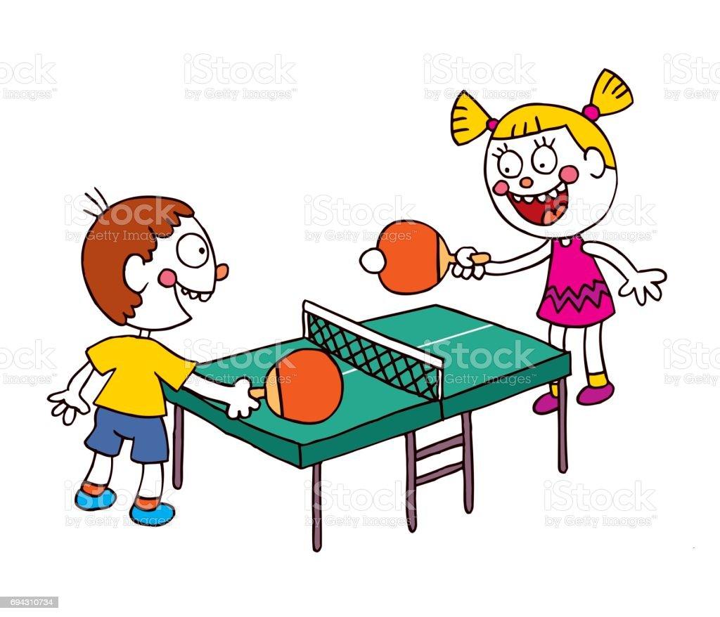 Kids Playing Table Tennis Ping Pong Royalty Free Kids Playing Table Tennis  Ping Pong Stock