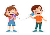 kids playing telephone toy vector isolated