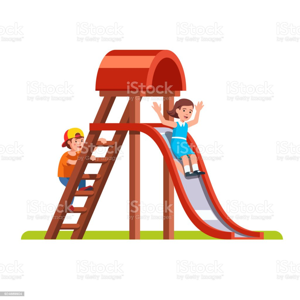 Kids playing together outside on park playground vector art illustration