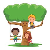 Children playing in the tree, hugging, caring, climbing, swinging, love, nature, environment conservation, group of kids, cute cartoon characters, male, female, vector illustration, isolated, white background