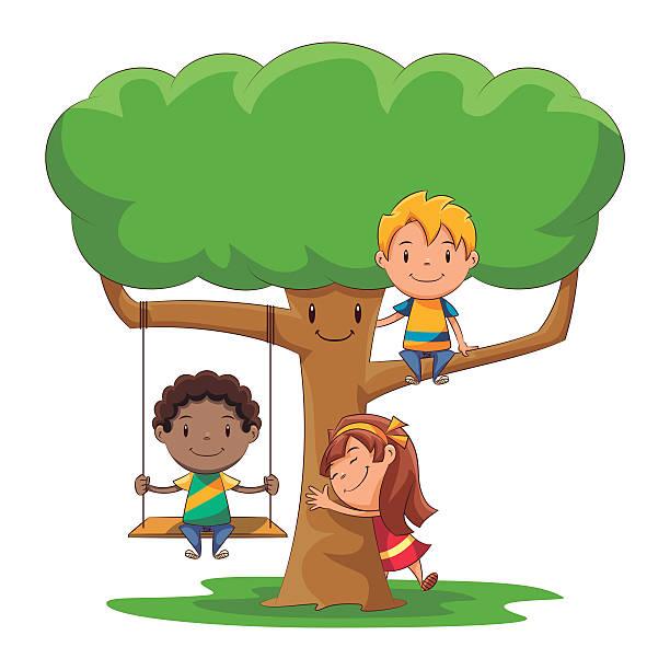 ilustrações de stock, clip art, desenhos animados e ícones de crianças jogar, árvore - balouço