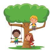 Kids playing, tree