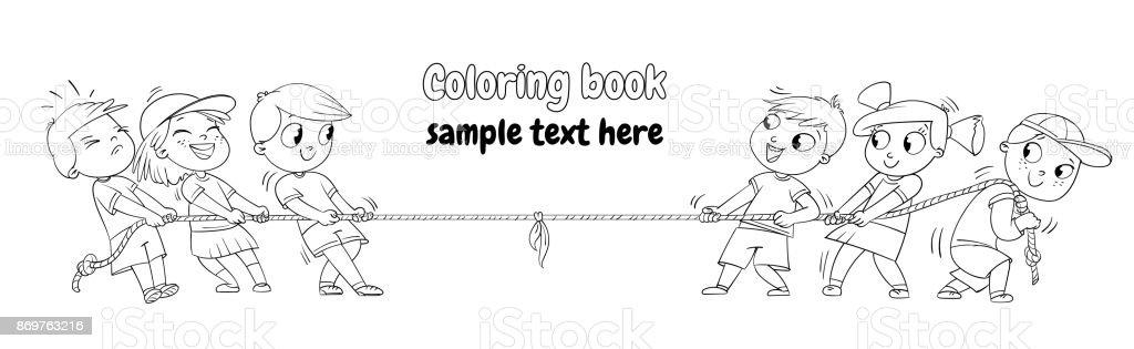 Kids Playing Tug Of War Coloring Book Stock Illustration