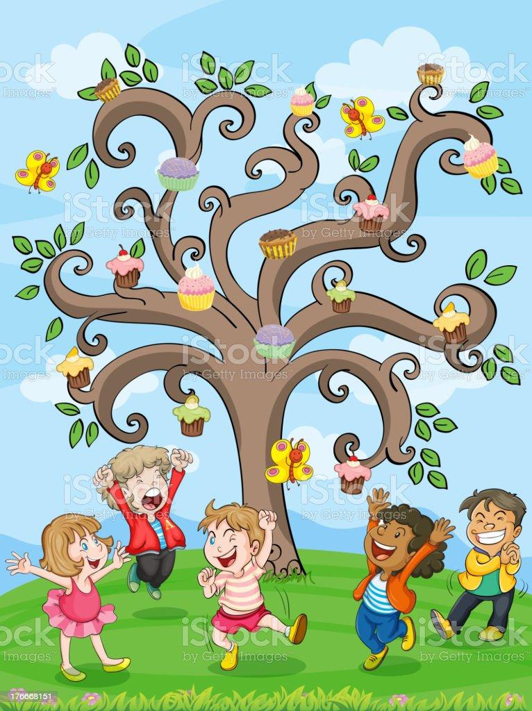 kids playing under cake tree royalty-free kids playing under cake tree stock vector art & more images of illustration