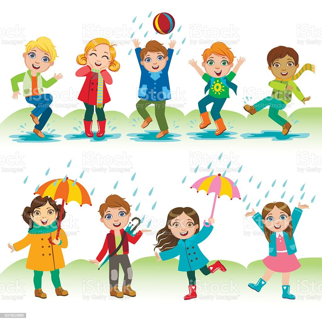 Kids Playing Under The Rain Stock Illustration Download