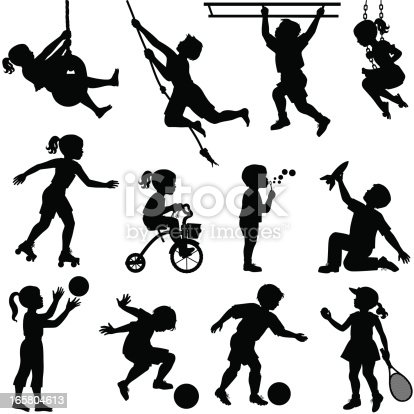 Silhouettes of boys and girls playing including playing with balls, tennis, skating, blowing bubbles, swinging from the monkey bars, riding a tricycle, swinging from a tire swing, playing with a toy rocket, etc.