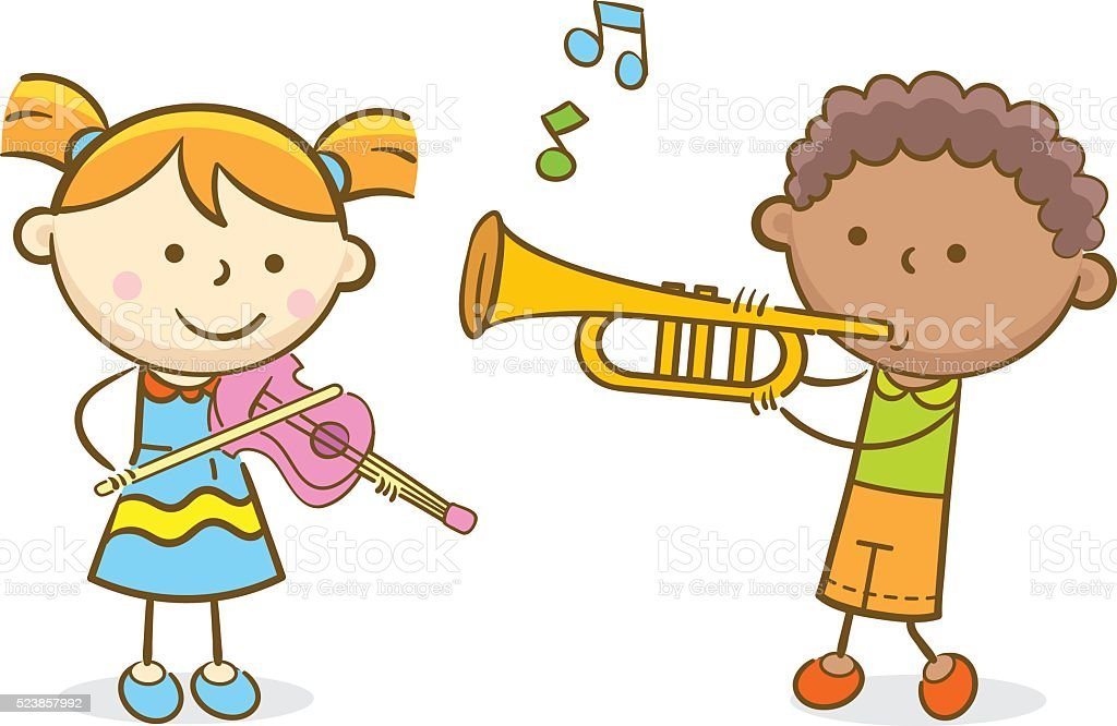 Kids Playing Violin and Trumpet vector art illustration
