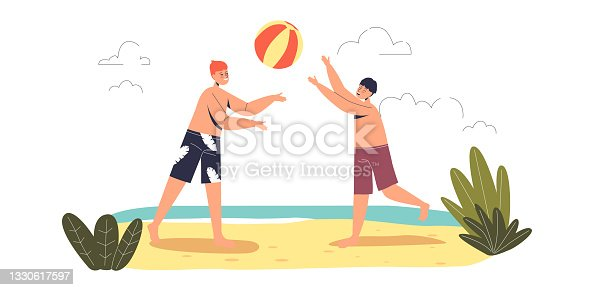Kids playing volleyball on beach. Children having fun outdoors on summer holidays