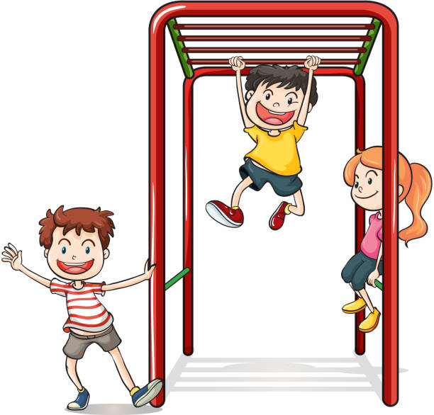 kids playing with a monkey bars - monkey bars stock illustrations, clip art, cartoons, & icons