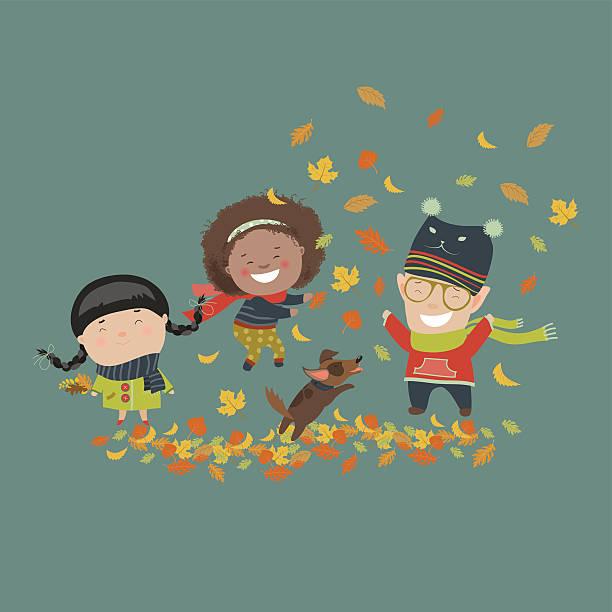 bildbanksillustrationer, clip art samt tecknat material och ikoner med kids playing with autumn leaves - children autumn