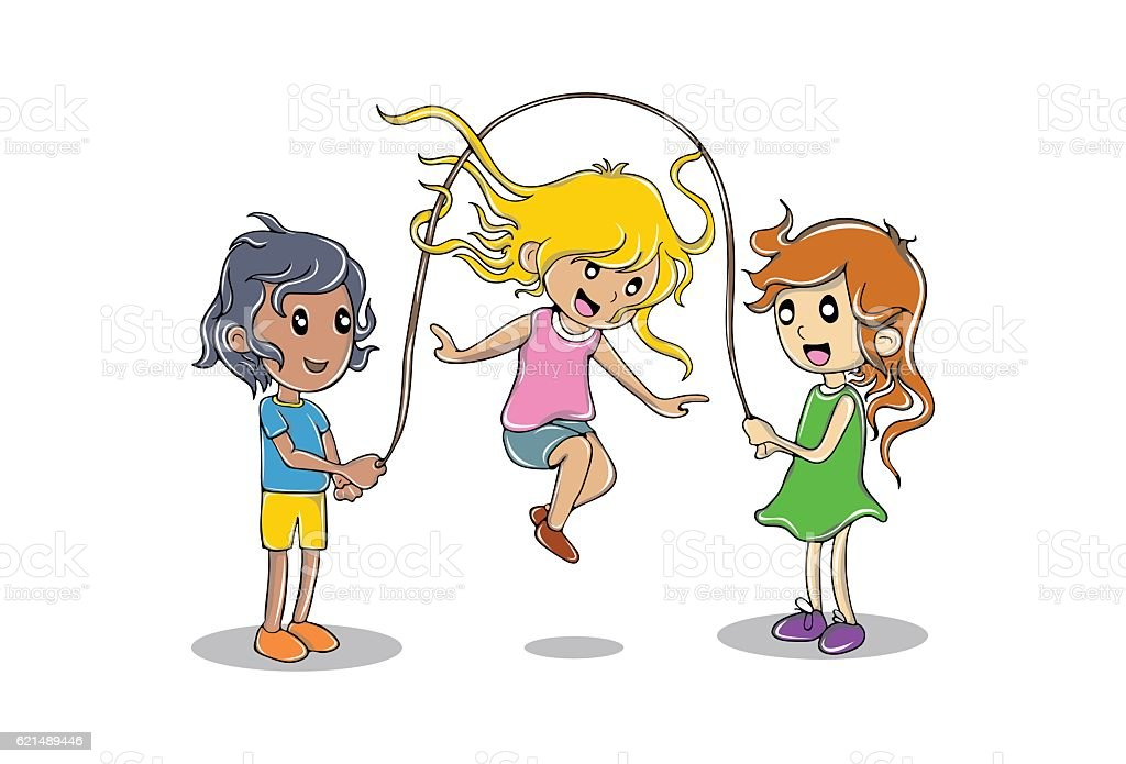 Kids playing with Rope skipping. Highly detailed vector illustration kids playing with rope skipping highly detailed vector illustration - immagini vettoriali stock e altre immagini di bambino royalty-free