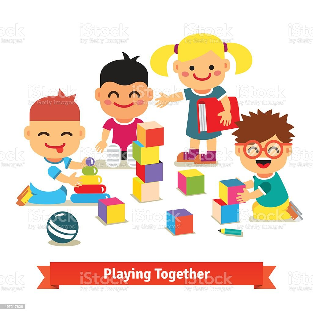 Kids playing with toys in kindergarten room vector art illustration